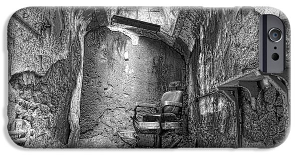 Scarface iPhone Cases - Barber - Chair - Eastern State Penitentiary - Black and White iPhone Case by Paul Ward