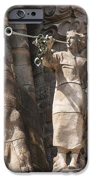Barcelona church Sagrada Familia Nativity Facade Detail iPhone Case by Matthias Hauser