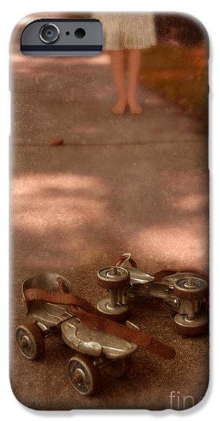 Barefoot Girl on Sidewalk with Roller Skates iPhone Case by Jill Battaglia