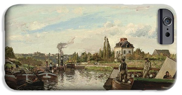 Camille Pissarro iPhone Cases - Barge on the Seine at Bougival iPhone Case by Camille Pissarro
