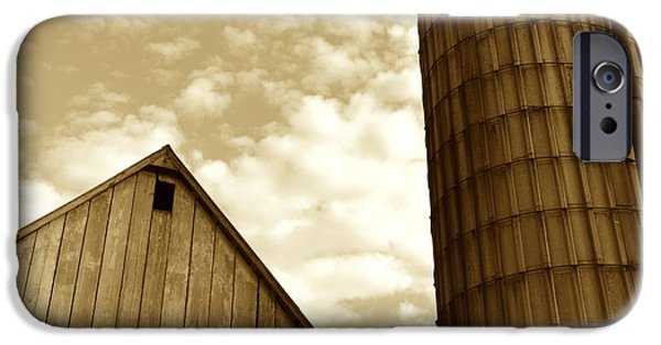 Haybarn iPhone Cases - Barn and Silo in sepia iPhone Case by JD Grimes