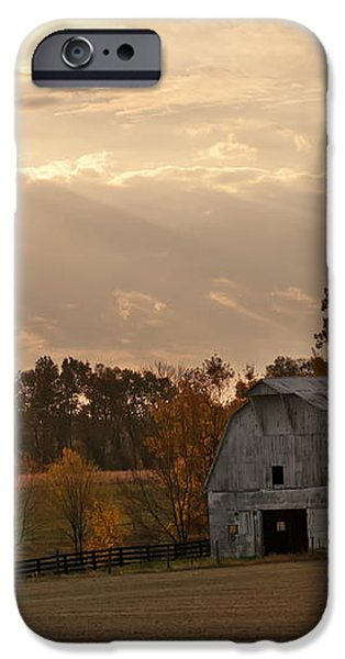 Barn In Warming Storm iPhone Case by Randall Branham