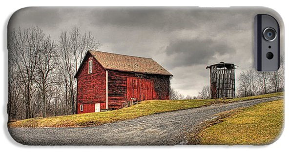 Winter Storm iPhone Cases - Barn in Winter Storm iPhone Case by Tony  Bazidlo