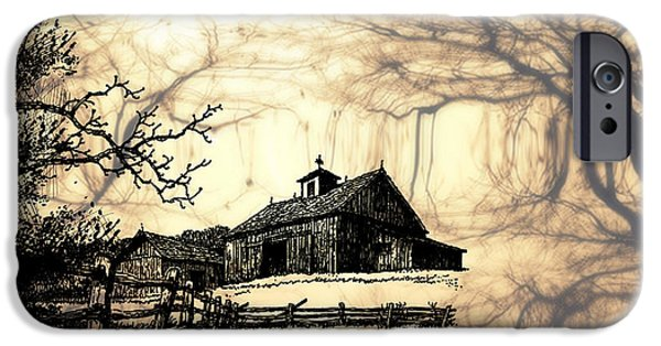 Recently Sold -  - Old Barn Drawing iPhone Cases - Barn Out Back 2 iPhone Case by Cheryl Young
