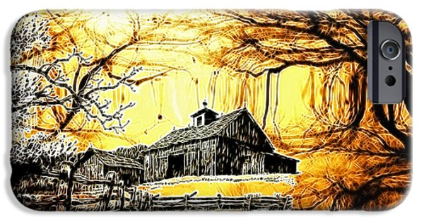 Old Barn Drawing iPhone Cases - Barn Out Back iPhone Case by Cheryl Young