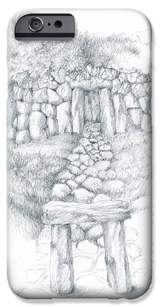 Tomb Drawings iPhone Cases - Barrow Tomb iPhone Case by Curtiss Shaffer