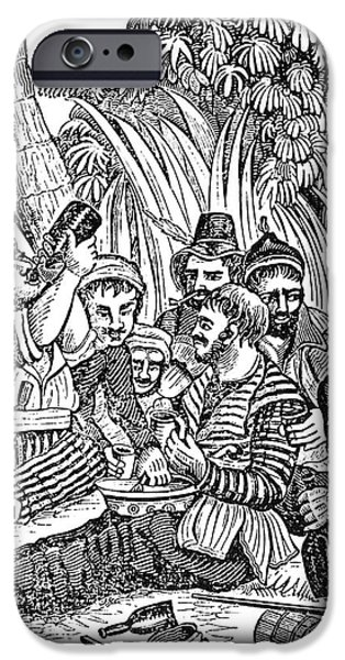 Pirate Drawing iPhone Cases - Bartholmew Roberts And Crew Drinking iPhone Case by Photo Researchers