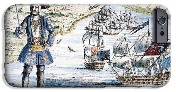 Pirate Ships iPhone Cases - Bartholomew Roberts iPhone Case by Granger