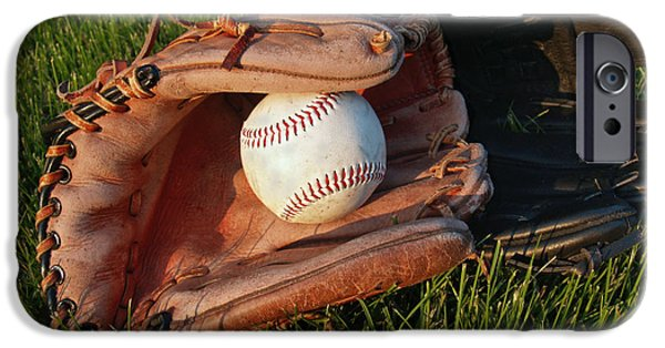Sports Photographs iPhone Cases - Baseball Gloves After the Game iPhone Case by Anna Lisa Yoder