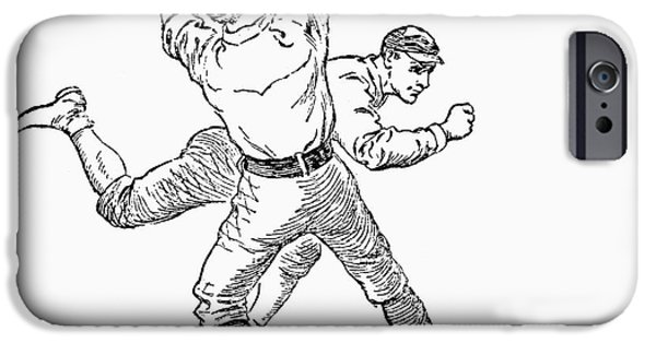 1st Base iPhone Cases - Baseball Players, 1889 iPhone Case by Granger