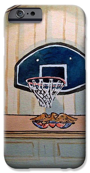Basketball Paintings iPhone Cases - Basketball Hoop Sketchbook Project Down My Street iPhone Case by Irina Sztukowski