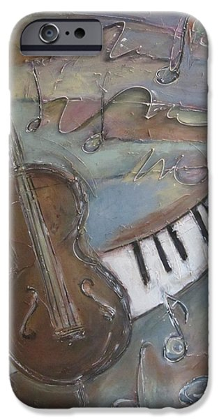 Keyboard Paintings iPhone Cases - Bass and  Keys iPhone Case by Anita Burgermeister