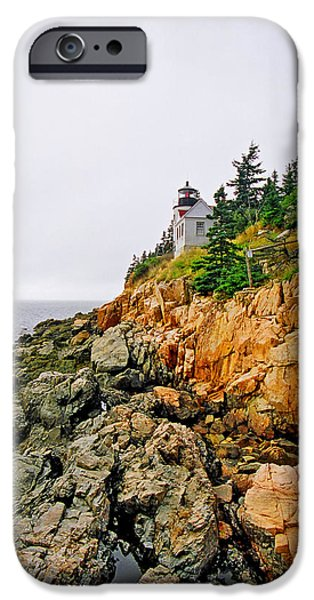 New England Lighthouse iPhone Cases - Bass Harbor Head Lighthouse iPhone Case by Joann Vitali
