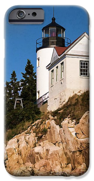 Fall iPhone Cases - Bass Harbor Light Acadia National Park Maine iPhone Case by Edward Fielding