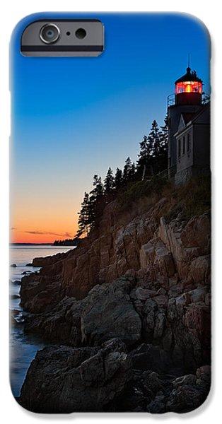 Ocean Sunset iPhone Cases - Bass Harbor Lighthouse Maine iPhone Case by Steve Gadomski