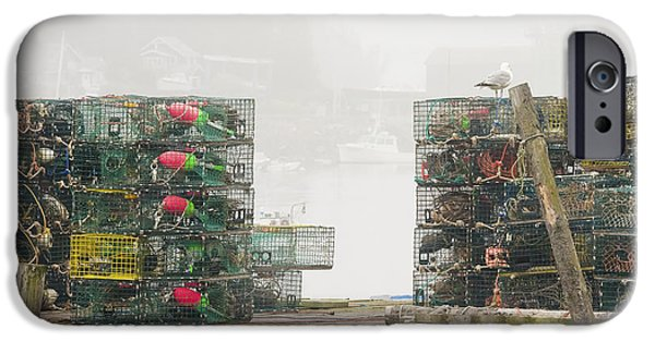 Maine iPhone Cases - Bass Harbor Lobster Traps Maine  iPhone Case by Keith Webber Jr