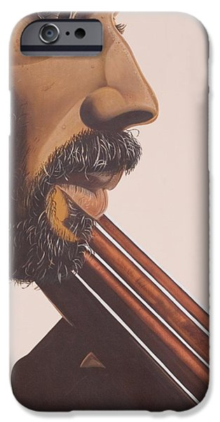 Bassist iPhone Cases - Bass Player IV iPhone Case by Kaaria Mucherera