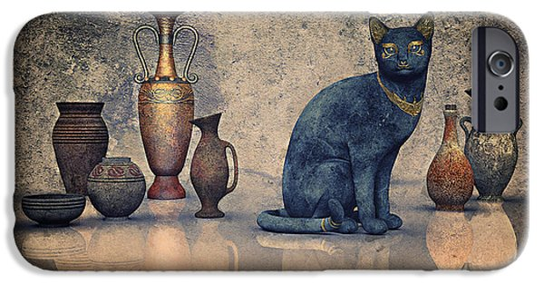 3d Graphic iPhone Cases - Bastet and Pottery iPhone Case by Jutta Maria Pusl