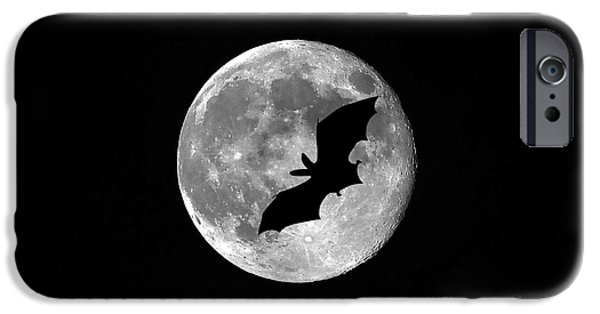 Moonscape Digital Art iPhone Cases - Bat Moon iPhone Case by Al Powell Photography USA