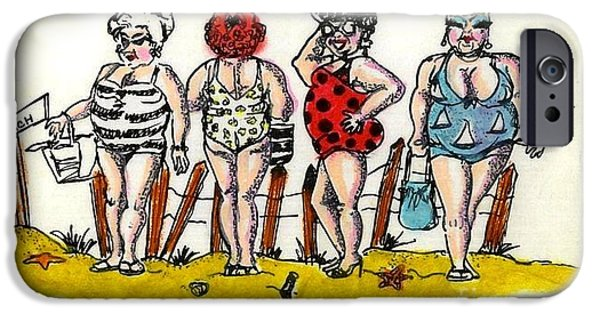 Bathing Mixed Media iPhone Cases - Bathing Beauties iPhone Case by Jose Breaux