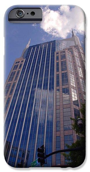 Buildings In Nashville iPhone Cases - Batman Building in Down Town Nashville iPhone Case by Susanne Van Hulst