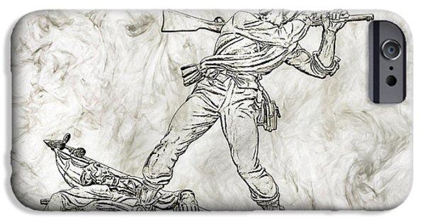 Battle Of Gettysburg Digital iPhone Cases - Battle in the Wheatfield  Mississippi at Gettysburg Sketch iPhone Case by Randy Steele