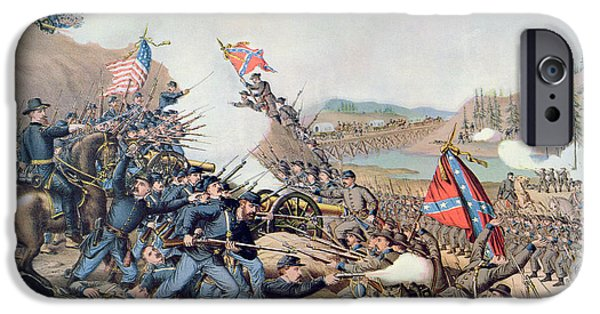 Franklin iPhone Cases - Battle of Franklin November 30th 1864 iPhone Case by American School