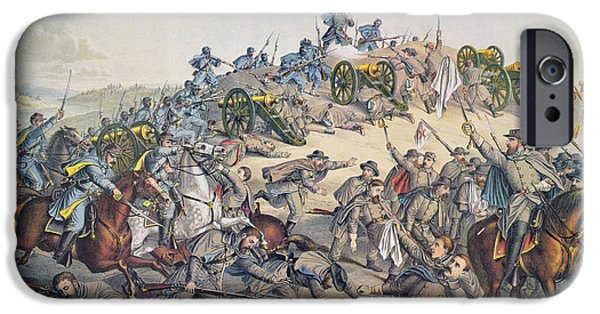 Nashville Paintings iPhone Cases - Battle of Nashville December 15-16th 1864 iPhone Case by American School