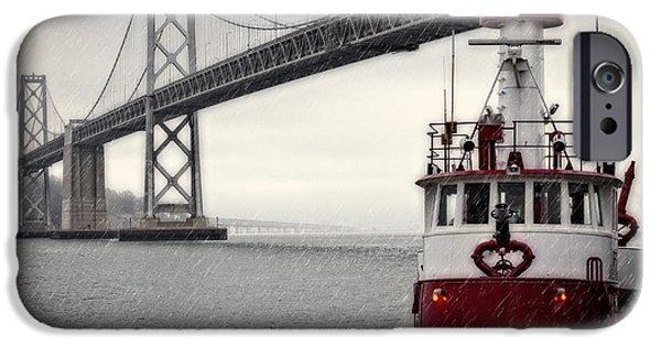 Bay Bridge iPhone Cases - Bay Bridge and Fireboat in the Rain iPhone Case by Jarrod Erbe