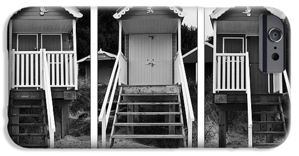 Hut iPhone Cases - Beach hut triptych iPhone Case by John Edwards