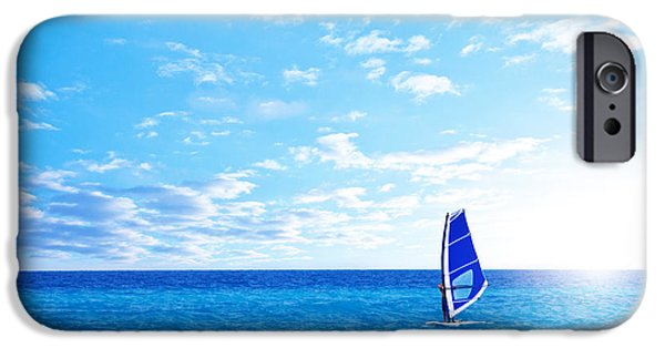 Windsurfer iPhone Cases - Beach landscape with windsurfer playing iPhone Case by Anna Omelchenko