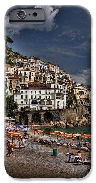 Beach scene in Amalfi on the Amalfi Coast in Italy iPhone Case by David Smith