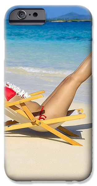 Beach Stretching iPhone Case by Tomas del Amo