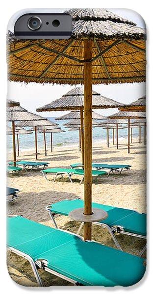 Beach umbrellas on sandy seashore iPhone Case by Elena Elisseeva