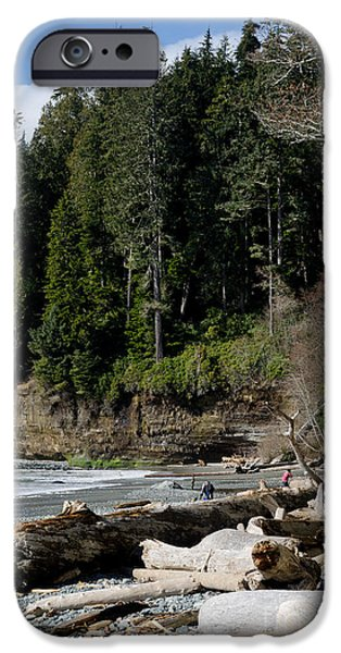 China Beach iPhone Cases - BEACHED LOGS china beach vancouver island BC iPhone Case by Andy Smy