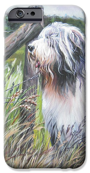 Bearded Collie with Cardinal iPhone Case by L AShepard