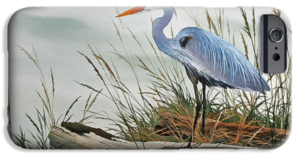 Pacific iPhone Cases - Beautiful Heron Shore iPhone Case by James Williamson