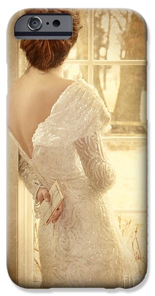 Beautiful Lady in Sequin Gown Looking out Window iPhone Case by Jill Battaglia