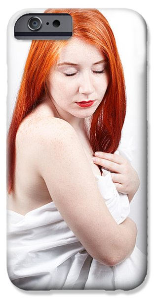 Beautiful redhead studio shot iPhone Case by Gabriela Insuratelu