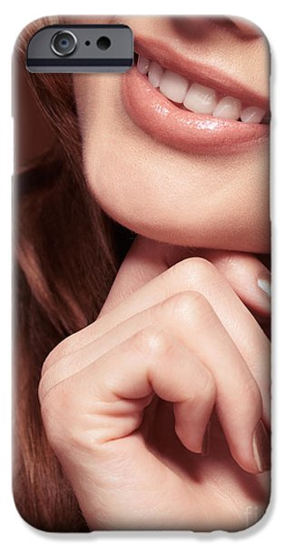 Chin Up Photographs iPhone Cases - Beautiful Young Smiling Woman mouth iPhone Case by Oleksiy Maksymenko