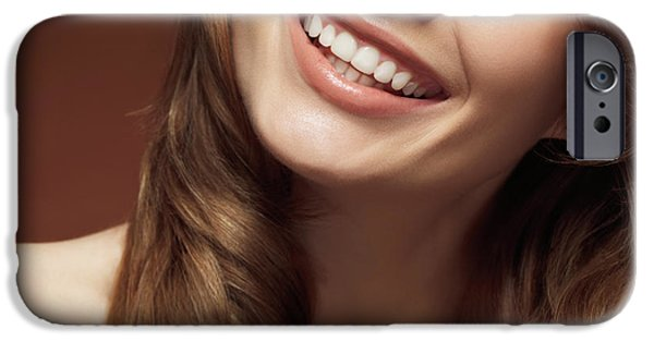 Seductive iPhone Cases - Beautiful Young Smiling Woman iPhone Case by Oleksiy Maksymenko