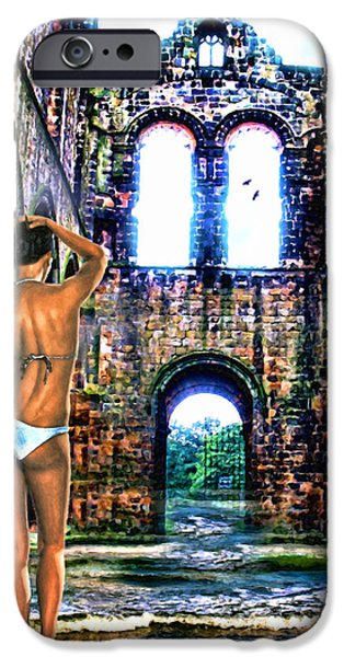 Bathing Mixed Media iPhone Cases - Beauty and the Flooded Ruins iPhone Case by Tyler Robbins