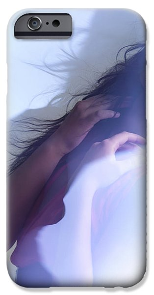 Chin Up Photographs iPhone Cases - Beauty Photo of a Woman in Shining Blue Settings iPhone Case by Oleksiy Maksymenko