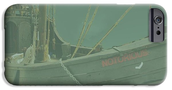 Pirate Ship Mixed Media iPhone Cases - Becalmed in a sea Mist iPhone Case by Blair Stuart