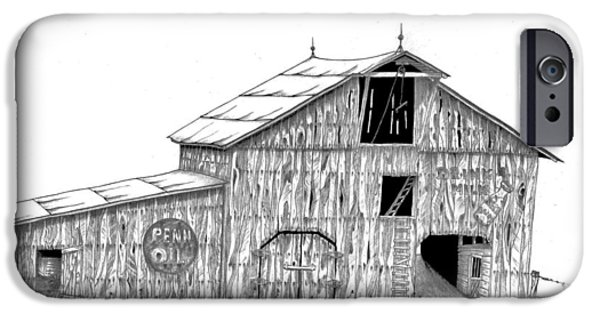 Old Barn Drawing iPhone Cases - Becks Dairy iPhone Case by Donald Black