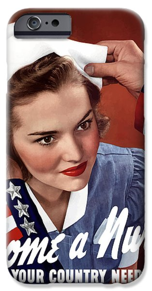 Ww2 iPhone Cases - Become A Nurse iPhone Case by War Is Hell Store
