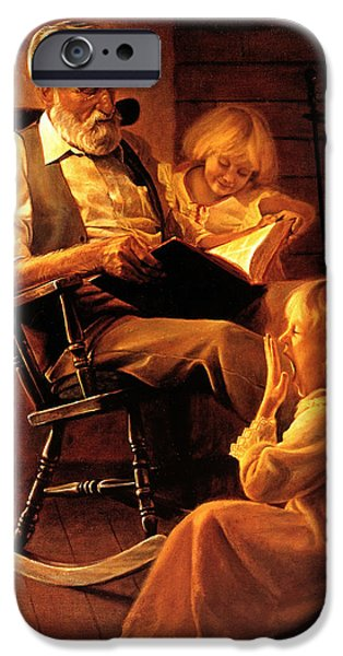 Chair Paintings iPhone Cases - Bedtime Stories iPhone Case by Greg Olsen
