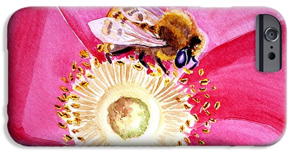 Bee iPhone Cases - Bee On A Top iPhone Case by Irina Sztukowski