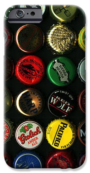 Beer Bottle Caps . 2 to 1 Proportion iPhone Case by Wingsdomain Art and Photography