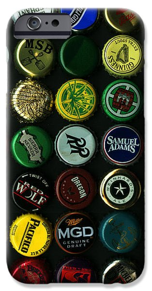 Beer Bottle Caps . 8 to 10 Proportion iPhone Case by Wingsdomain Art and Photography